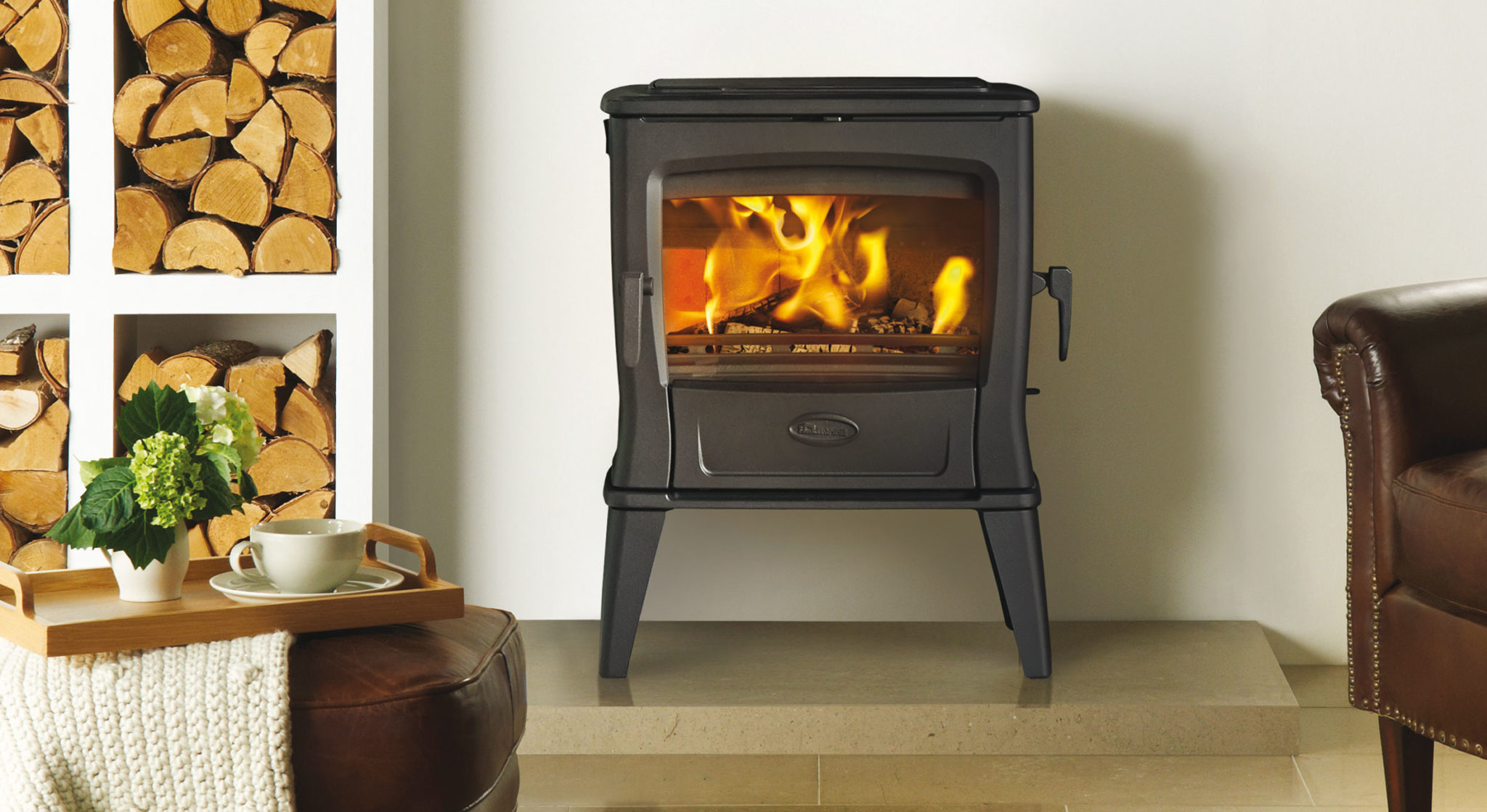All new wood burning stove with a powerful heat output!