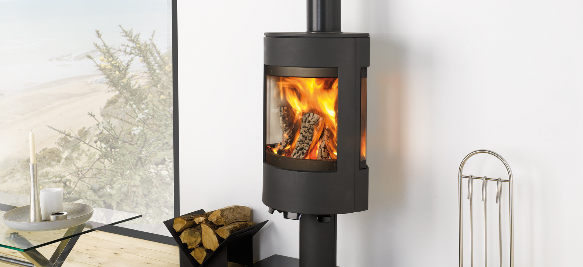 A contemporary wood burner with a Scandinavian twist…